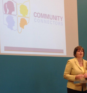 Jane Keller speaking at the Cincinnati Community Connectors Kick-Off in December 2014